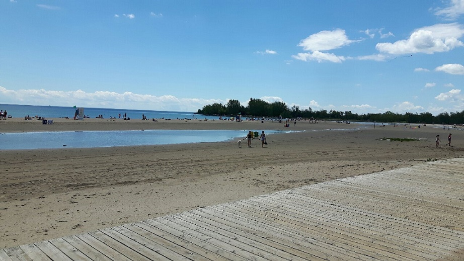Woodbine Beach volleyball returns after Lake Ontario levels drop - Puddles remain.jpg