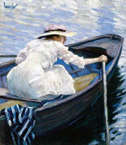 Американский художник Edward Alfred Cucuel (1875-1954) In The Boat