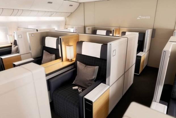 Швейцарские авиалинии первого класса тоже очень популярны среди богатых путешественников, один дизай