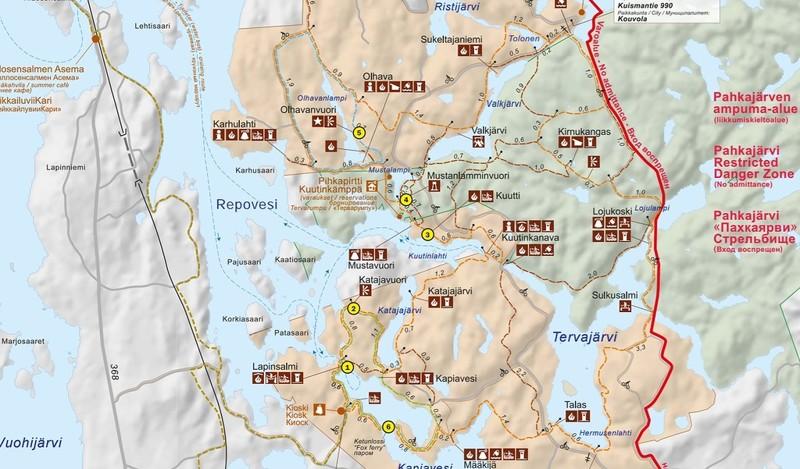 Большинство мест с живописными видами также отмечены на карте солнышком