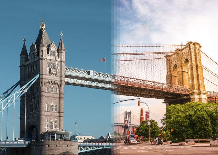 Тауэрский мост в Лондоне и Бруклинский мост в Нью-Йорке.
