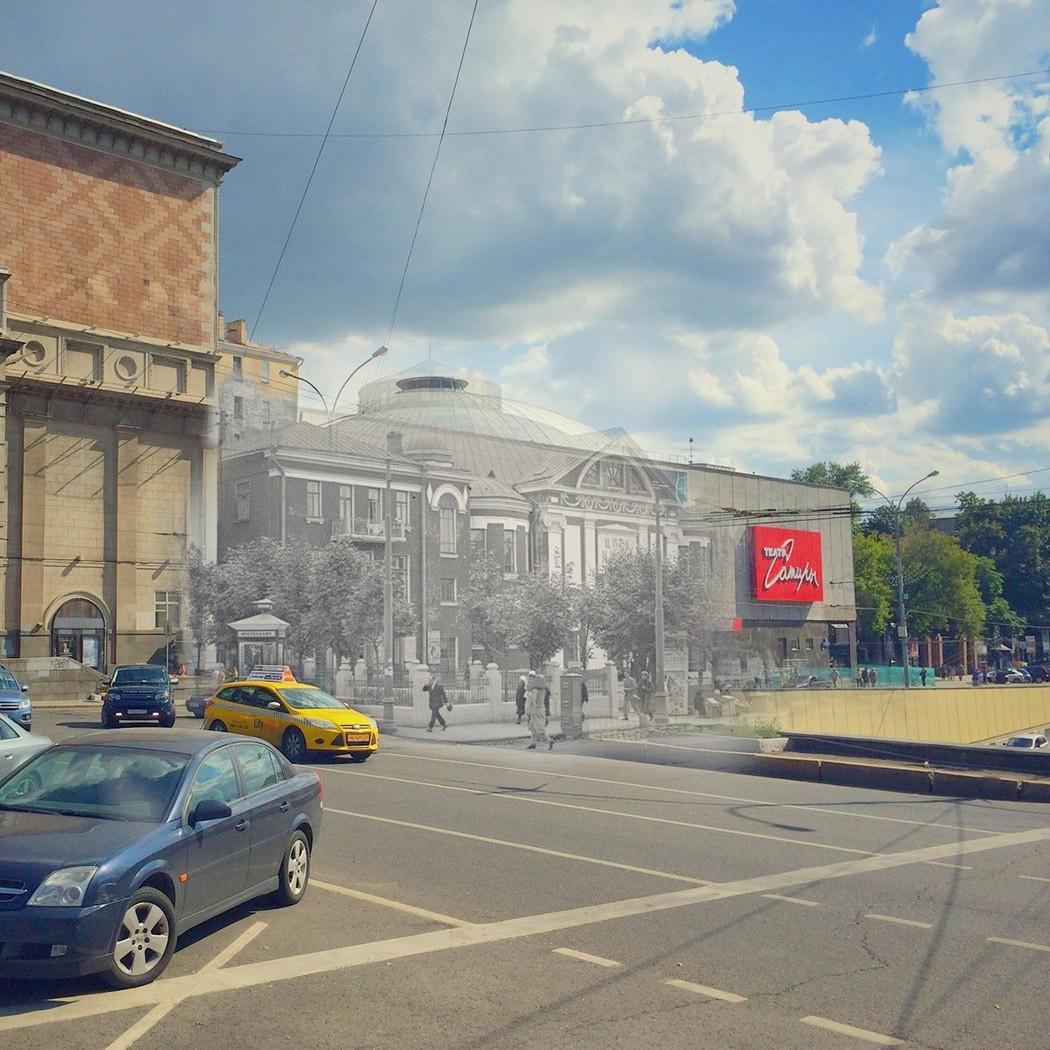 20. Театр Сатиры — Цирк Никитиных. Фасад театра Сатиры представляет из себя плоскую стену без окон,