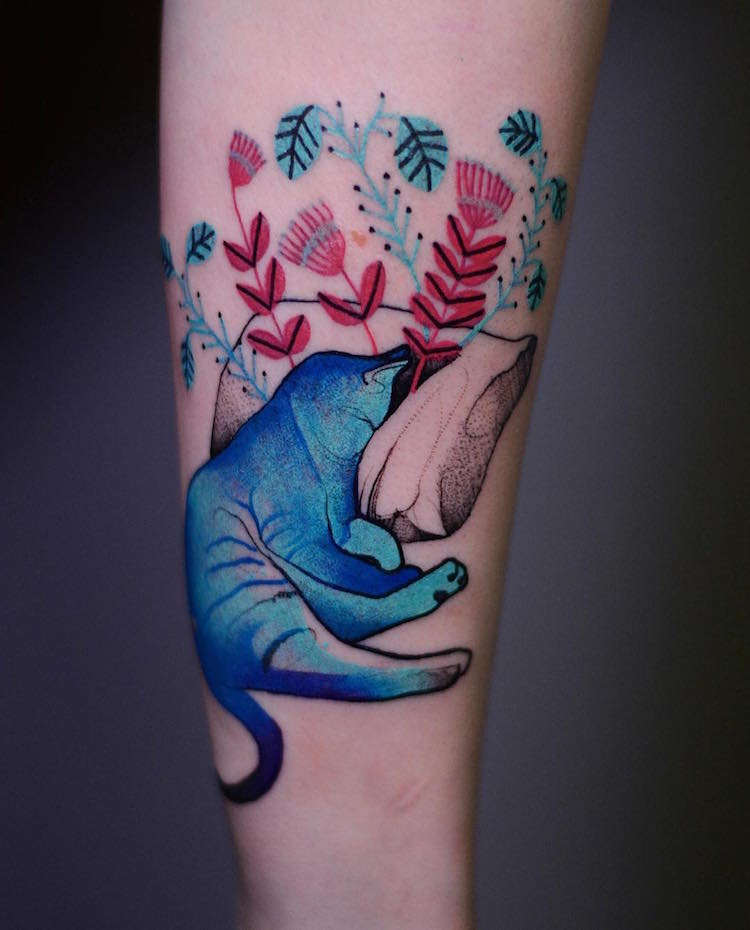 Animal Tattoos Add Bright Pops of Color to Sketch-like Tattoo Animals
