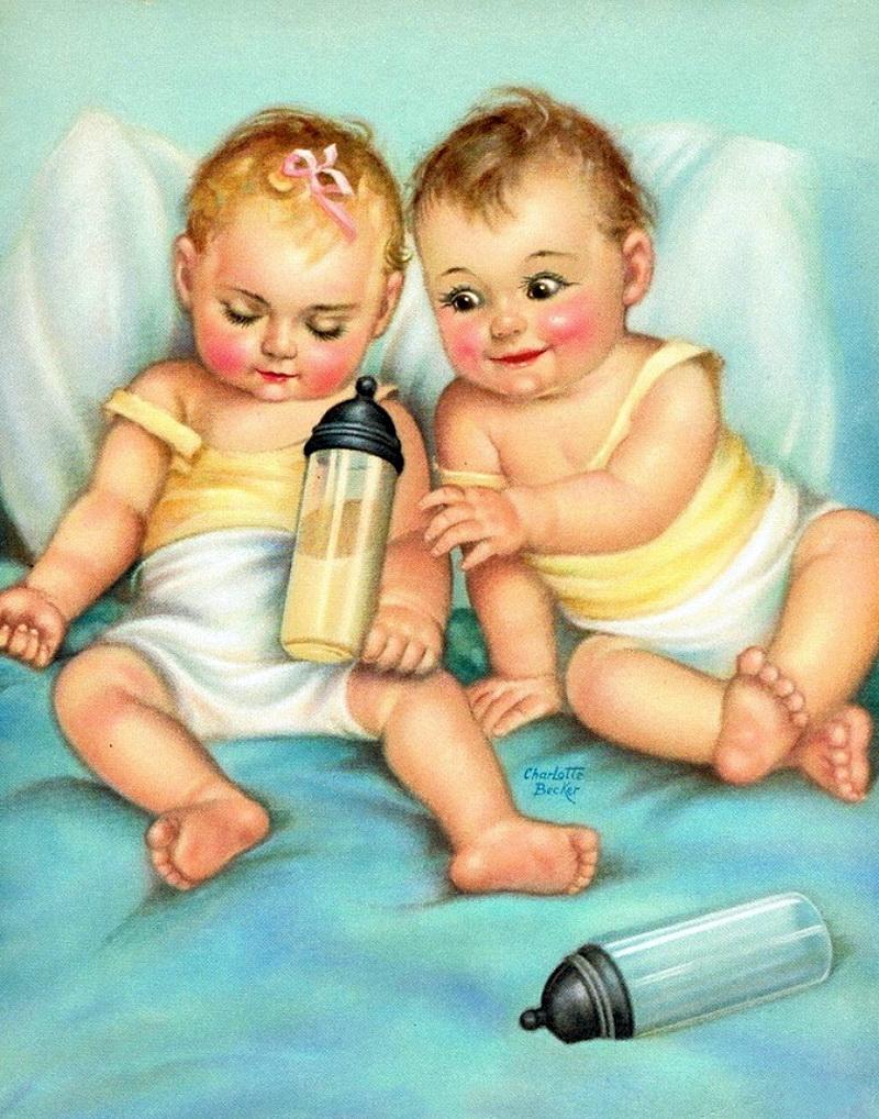 Двойни малыши открытка рисунок