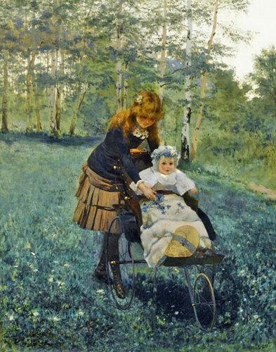 Собирание колокольчиков (Collecting bluebells) Альберт Раудниц (Albert Raudnitz
