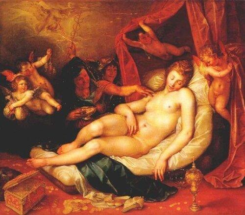 Hendrick Goltzius Спящая Даная готовится к встрече с Юпитером