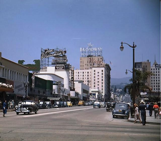 Вид на Вайн-стрит с бульвара Сансет, 1948 год.