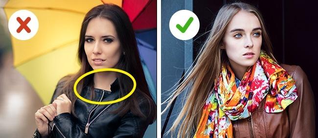 © depositphotos  Под кожаную куртку надевайте вещи свысоким горлом или носите шарф, шейный пл