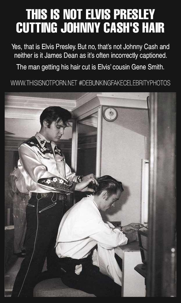 «Да, это Элвис Пресли, но стрижет он не Джонни Кэша или Джеймса Дина, как многие считают. Элвис стри