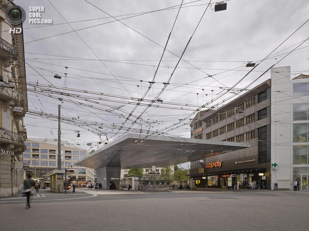 Швейцария. Винтертур, Цюрих. Автобусная станция Bahnhofplatz, спроектированная Stutz Bolt Partne
