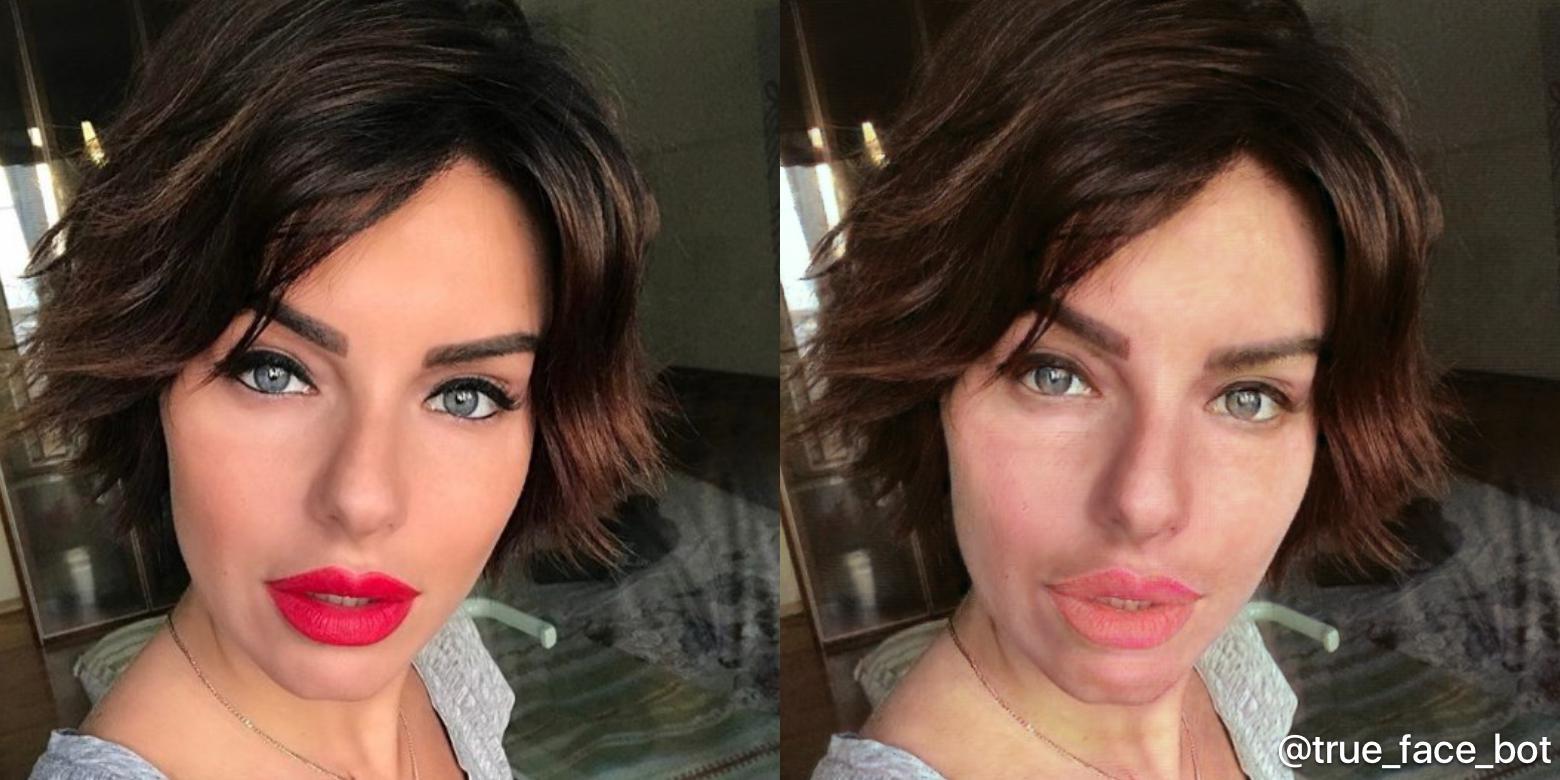 Юлия Волкова. При накладывании «макияжа» эффект обычно не так заметен: алгоритм немного выравнивает