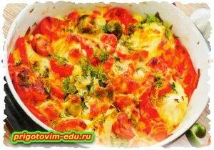 Овощи, запечённые с сыром в духовке