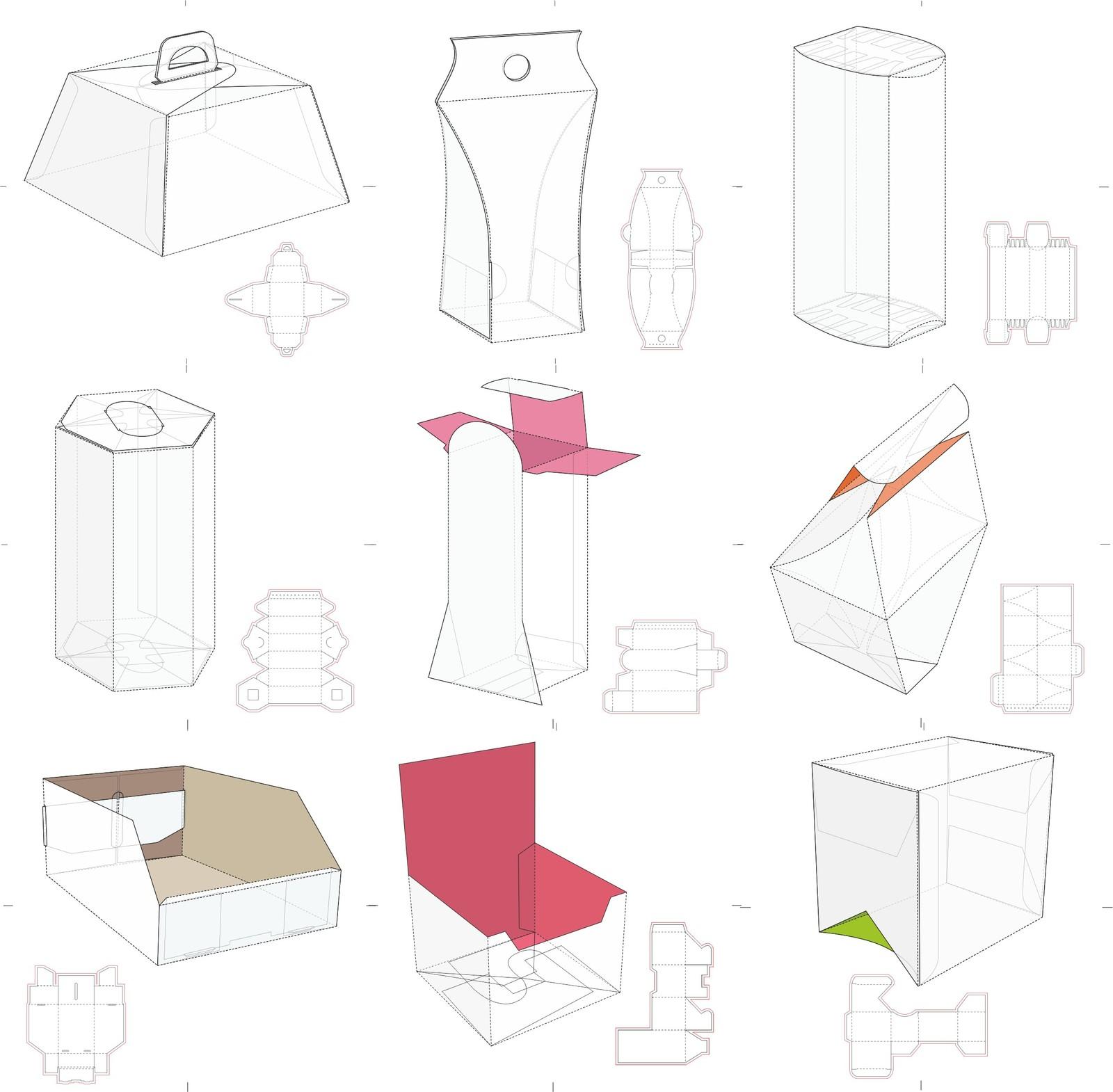 Векторные схемы разнообразных коробочек Часть 2 скачать бесплатно!