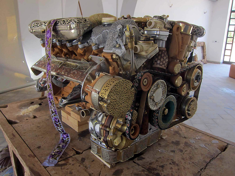 A Mercedes V12 Engine Built with Hand-Forged Components of Bone, Wood, Fossils and 50 Other Materials (6 pics)