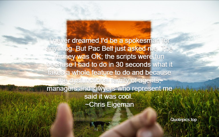 I never dreamed I'd be a spokesman for anything. But Pac Bell just asked me. The money was OK; the scripts were fun because I had to do in 30 seconds what it takes a whole feature to do and because the dysfunctional family of agents, managers and lawyers who represent me said it was cool. ~Chris Eigeman