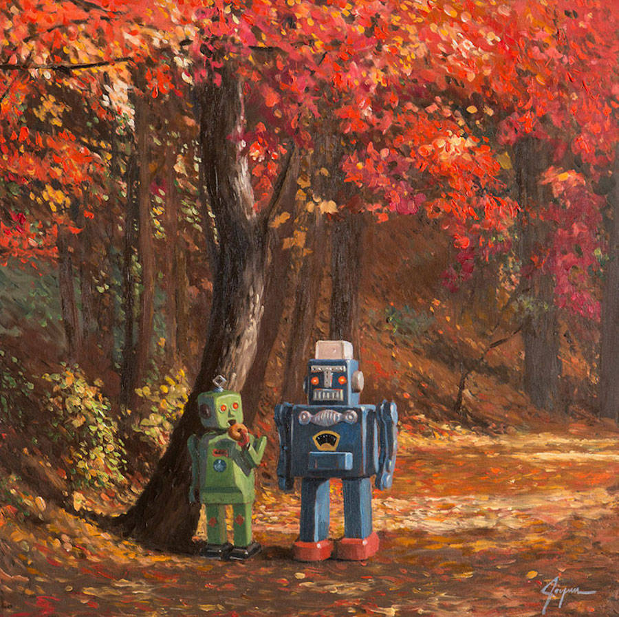 Surreal Paintings Feature Little Robots