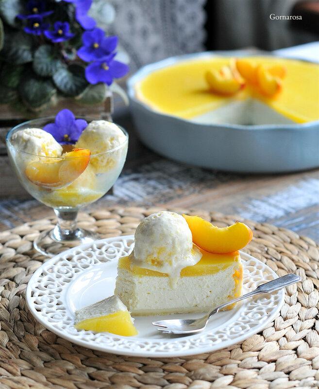 Немецкий творожный двухслойный пирог с манго, разрез