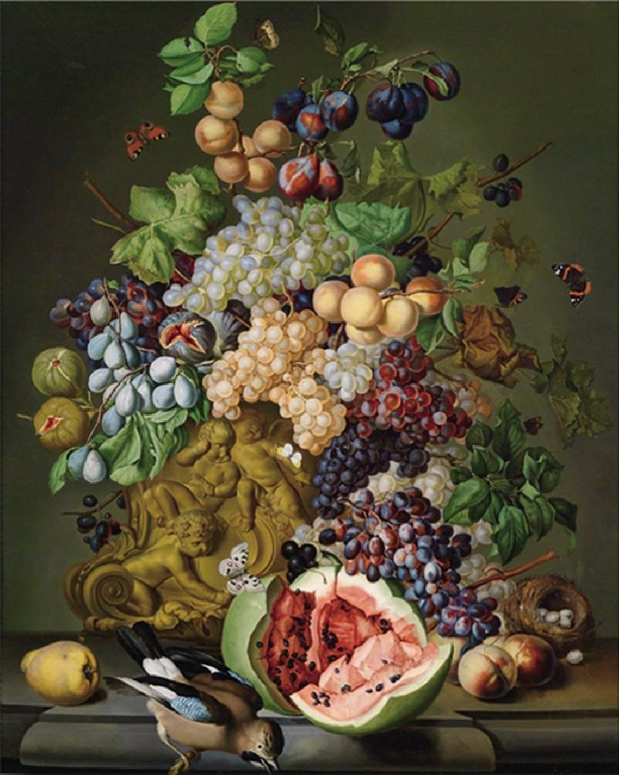 Large, Decorative Still Life with Flowers, with Fruit and a Jay