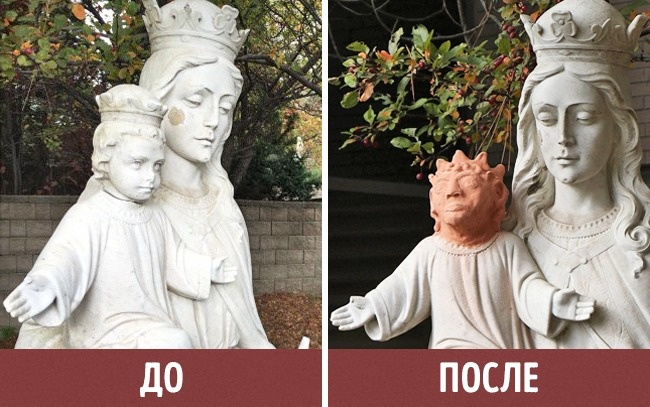 © AP/FOTOLINK  © Marina v Stackelberg?/twitter  Скульптура Девы Марии имладенца Иисуса