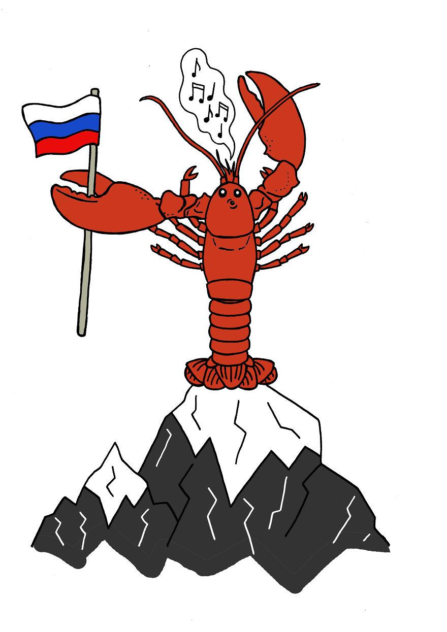На некой горе сидит рак со свистком и ждет сигнала, когда русские выполнят обещанное.