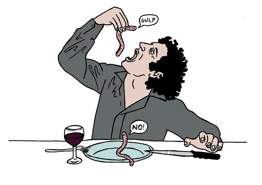 С русским человеком не получится просто спокойно поесть — придется вместе убить червяка.