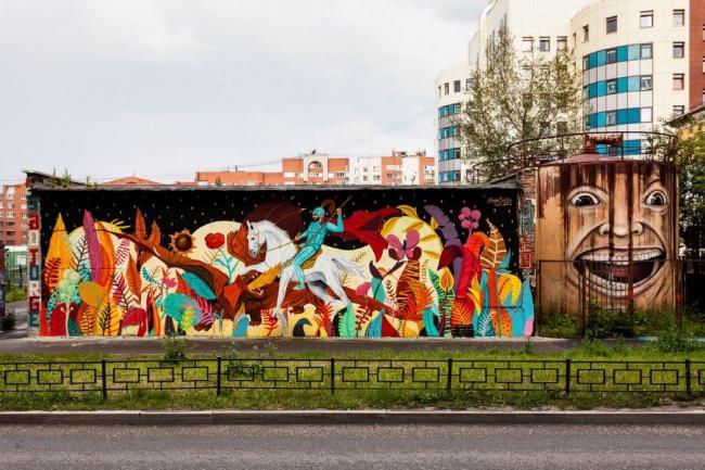 Георгий Победоносец, нарисованный художником изБразилии наодной изуличных поверхностей Екатеринбу