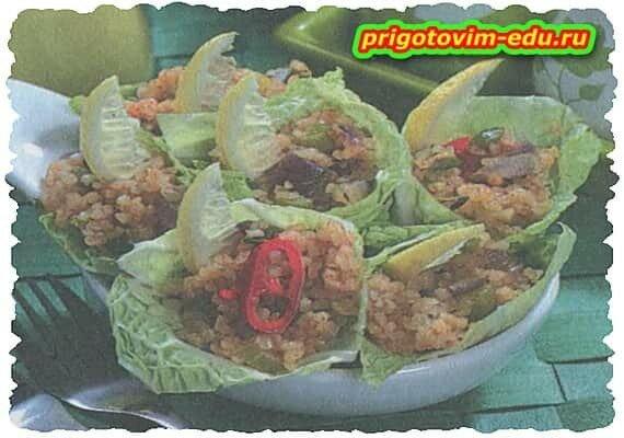 Кулечки с салатом из булгура