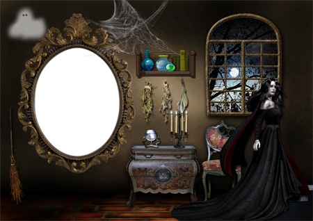 Рамка для фото с красивой ведьмой у окна