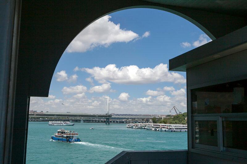 View of the Bosphorus through the arch of the Galata bridge