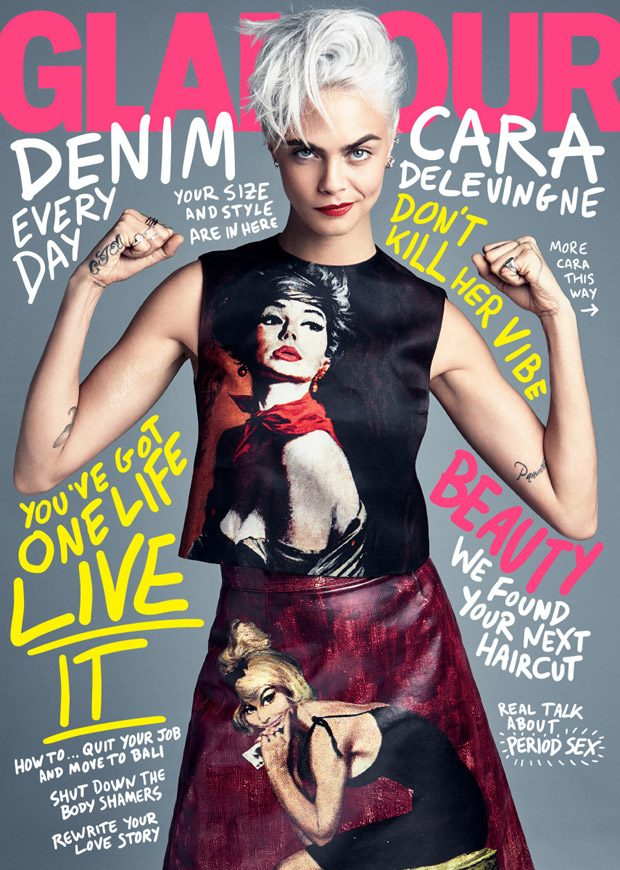 Supermodel turned actress Cara Delevingne takes the cover story of American Glamour 's August