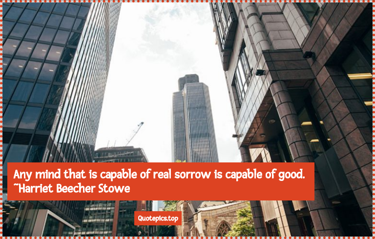 Any mind that is capable of real sorrow is capable of good. ~Harriet Beecher Stowe