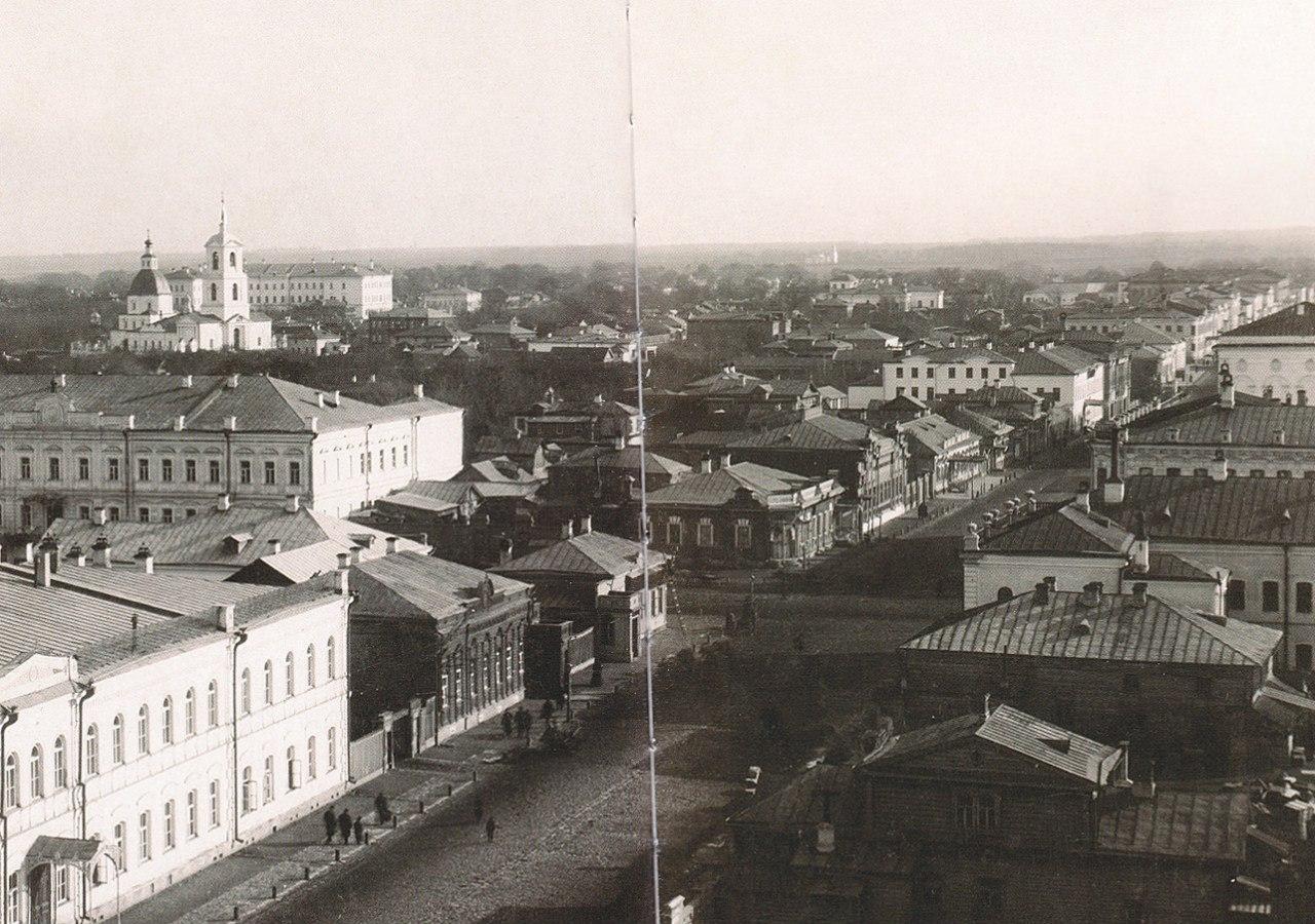Панорама Рязани. Вид на перекресток улиц Соборной и Астраханской. 1900