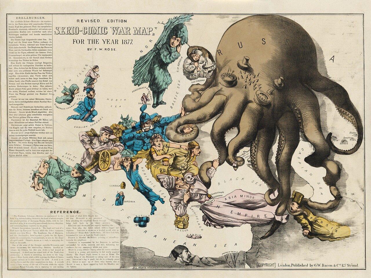 Комическая карта военных действий. Эта знаменитая сатирическая карта «Осьминог» была впервые опубликована в марте 1877 года, через два месяца после того, как Россия напала на Османскую империю в ответ на турецкую резню  болгарских христиан