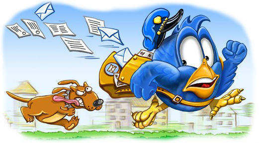 День-почты. Собака бежит за почтальоном