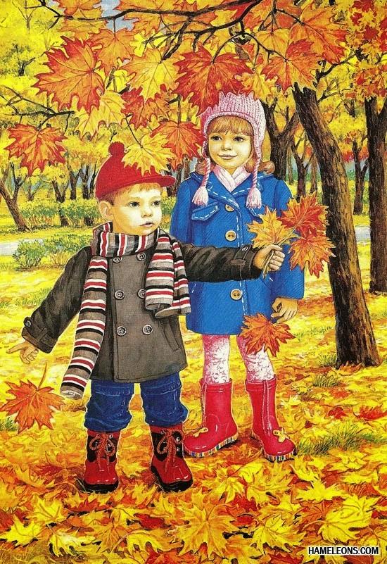 Открытки. Осень. Дети открытки фото рисунки картинки поздравления