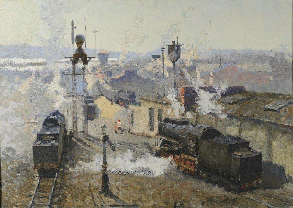 Кузнецов Николай Дмитириевич (1923-1974) «Экипировка паровозов в депо» 1957.