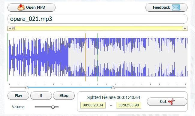 © cutmp3.net  Очень простой иабсолютно бесплатный инструмент для вырезки нужного вам кусочка