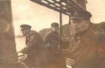 Командир лодки А.М. Каутский, помощник командира А.А. Телегин и командир 3-го ДПЛ капитан 2 ранга В.А. Иванов