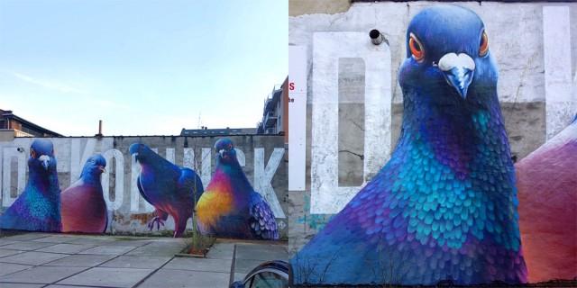 Giant Pigeons Murals Street Art (5 pics)
