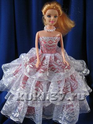 бальное платье для Барби из кружева