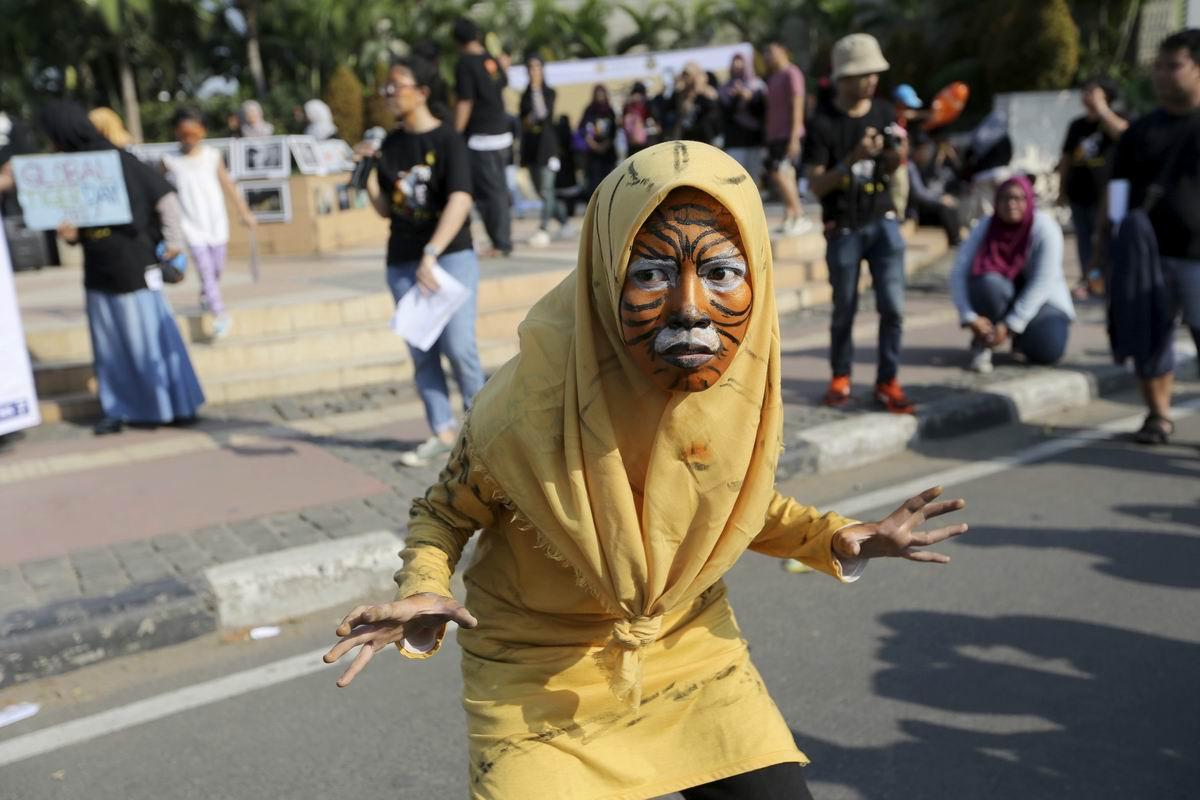 Хочу быть полосатой тигрицей: Представление на улицах индонезийской столицы