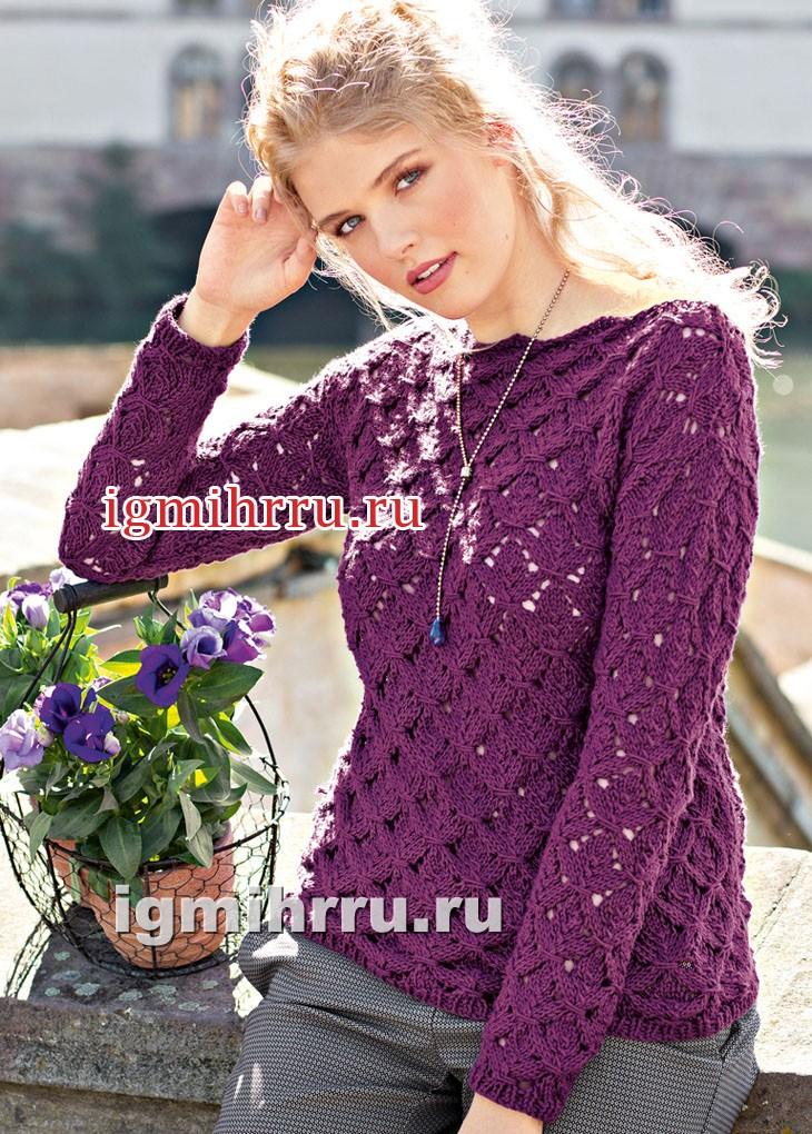 Фиолетовый пуловер с фантазийным узором. Вязание спицами