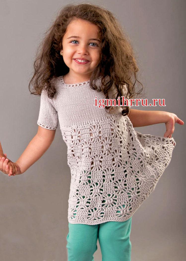 Для девочки до 1,5 лет. Летнее платье с паучками. Вязание крючком и спицами