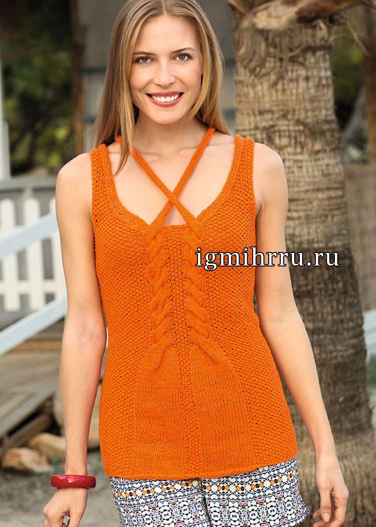 Оранжевый летний топ с узором из кос. Вязание спицами