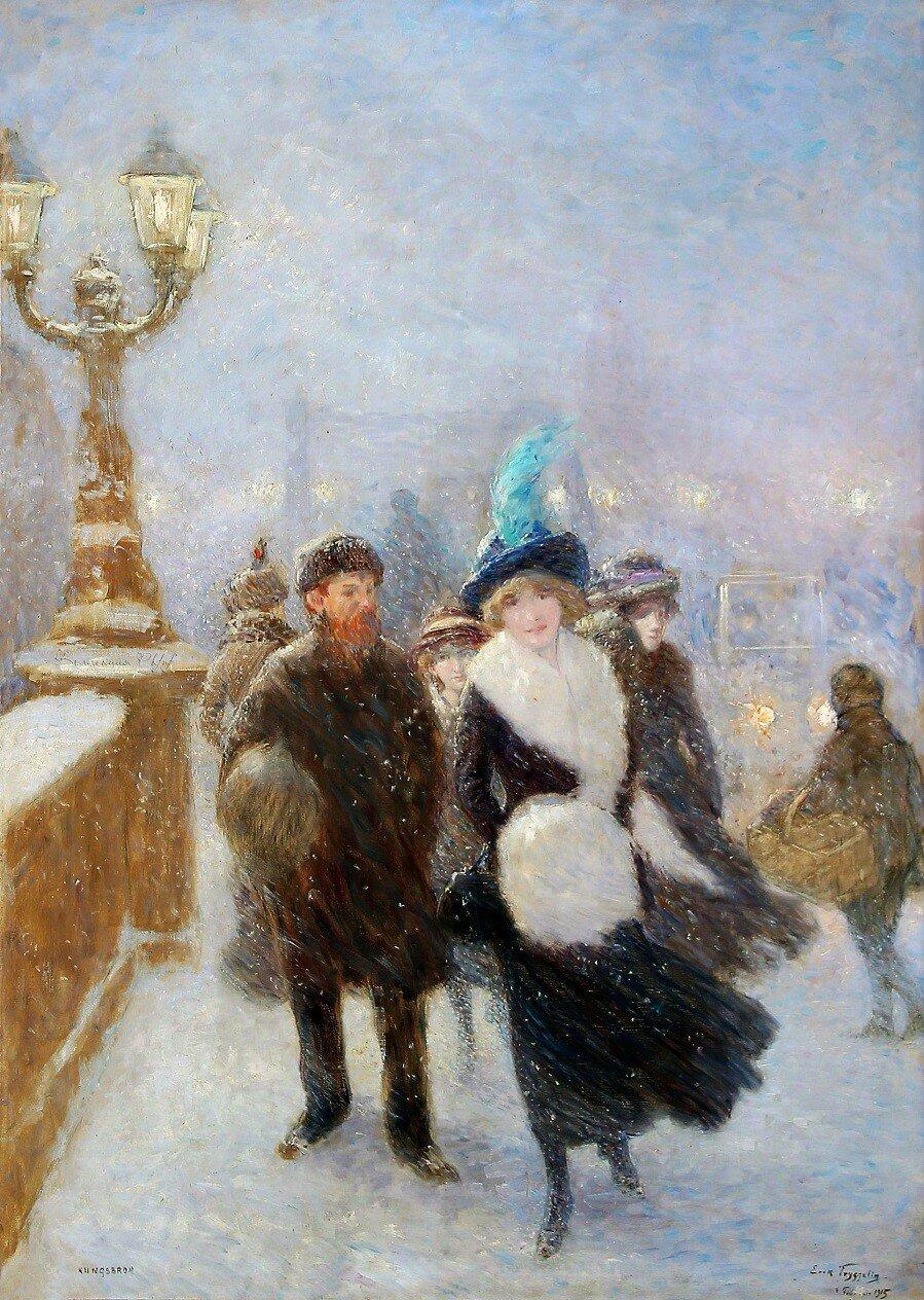 Winter walking at Kungsbron in Stockholm, 1915.jpg
