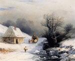 Телега с волами зимой 1866 год