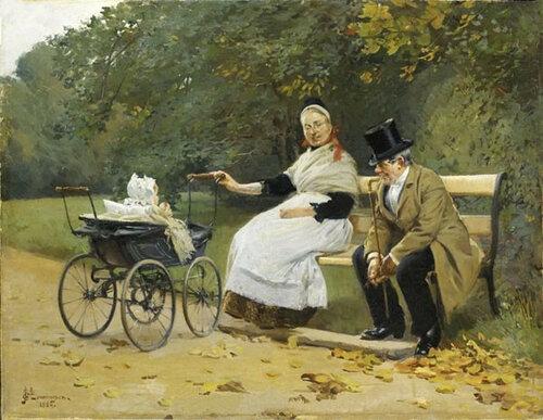 Ребенок, служанка и джентльмен, 1884 Эрик Людвиг Хенингсен Erik Ludvig Henningsen