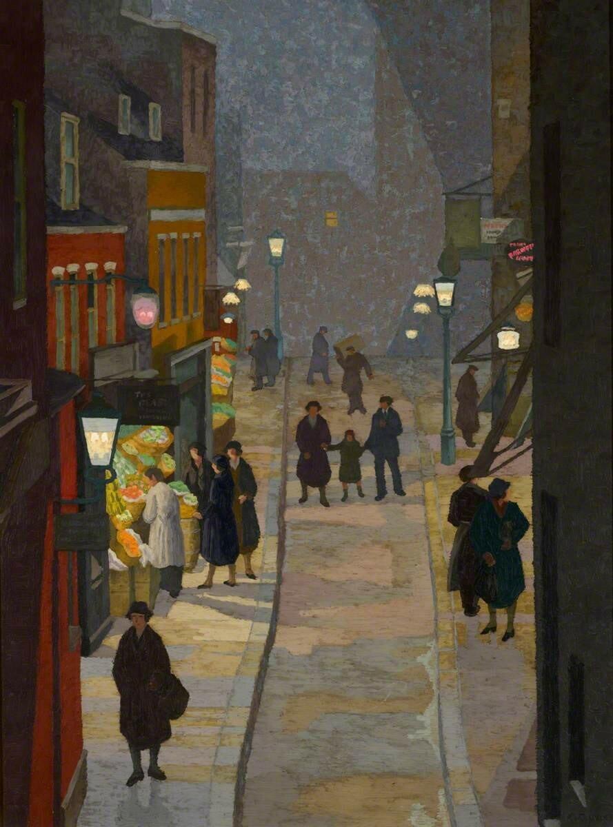 Flask Walk, Hampstead, at Night
