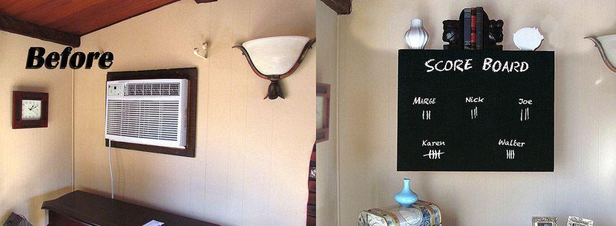 16. Кондиционер можно спрятать за доской, предварительно покрытой меловой краской.
