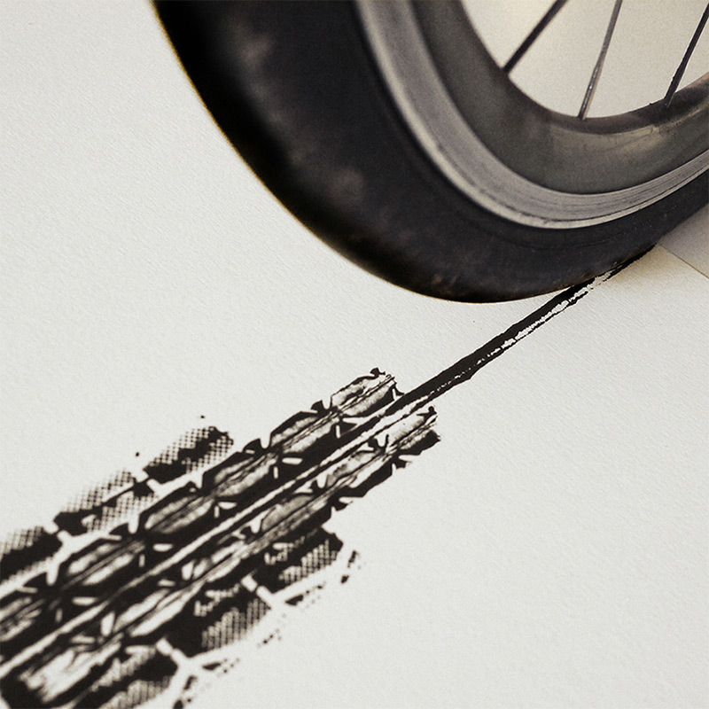 The Cyclist's Empire: A New Print of the Empire State Building Made from Bicycle Tracks